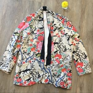 Floral Open Blazer Lined Pockets size small